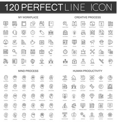 120 modern thin line icons set of my workplace vector