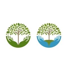 Ecology natural environment logo tree vector