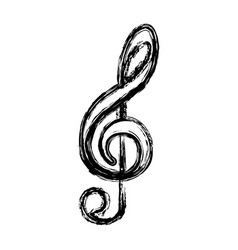 Contour sign music note icon vector
