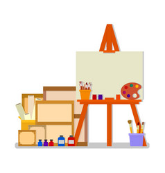 Workshop room with easel and tools for art design vector