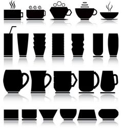 Cups and glasses set vector