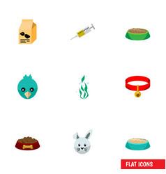Flat icon animal set of vaccine bunny feeding vector