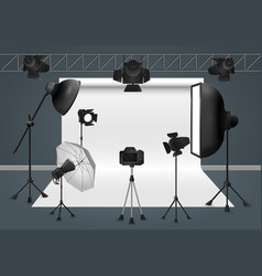 Photo studio with camera lighting equipment flash vector