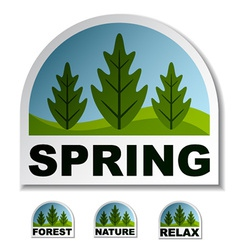 Spring tree forest stickers vector