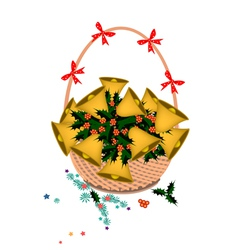 Brown basket of golden bell and christmas holly vector