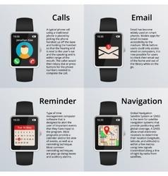 Smartwatch receiving calls and unread messages vector