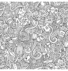 Cartoon doodle children seamless pattern vector