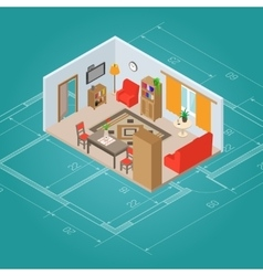 Isometric living room interior vector