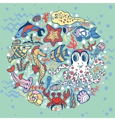 Cartoon funny fish sea life circle background vector