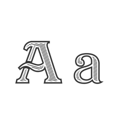 Font tattoo engraving letter a with shading vector