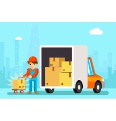 Delivery man unload delivery car boxes vector