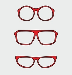 Red nerd glasses with thick holder vector