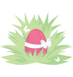 Easter pink egg on green grass with butterfly vector