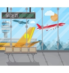 Airport terminal background vector