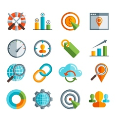 Business seo social media marketing flai icon vector