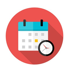 Calendar and clock time circle icon vector