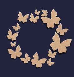 circle frame with butterflies made in carton paper vector image
