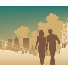 city couple vector image