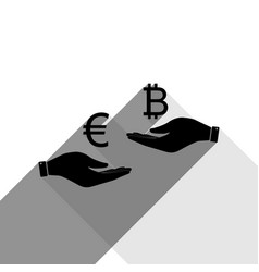 currency exchange from hand to hand euro an vector image