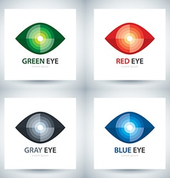 Cyber eye icon set vector