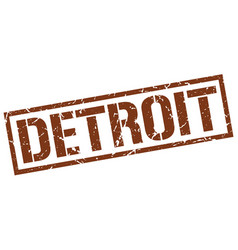 Detroit brown square stamp vector