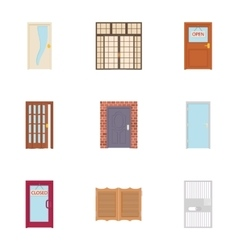 Door icons set cartoon style vector