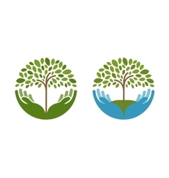 Ecology natural environment logo Tree vector image