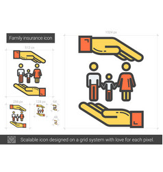Family insurance line icon vector