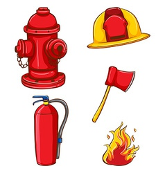 Fireman equipment vector image