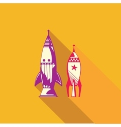 Flat icon of rocket vector image