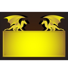 Gold frame with dragon - symbol of 2012 year vector
