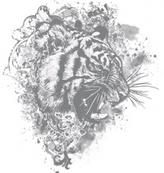 grunge tiger floral illustration vector image vector image
