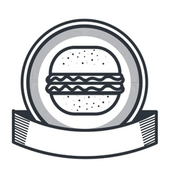 hamburger restaurant emblem icon vector image