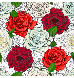 hand drawn rose seamless pattern vector image vector image
