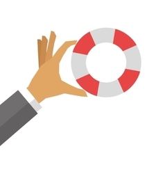 Hand holding life preserver icon vector