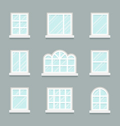 house windows building glass icons set flat design vector image