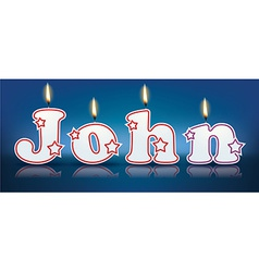 John written with burning candles vector