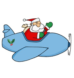 Kris kringle flying his christmas plane vector