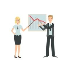 Managers Showing Chart With Fall In Sales Teamwork vector image vector image