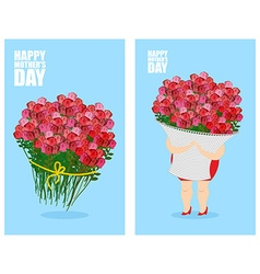 Mothers Day greeting card set Woman and basket of vector image