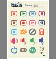 Music and media web icons set vector image