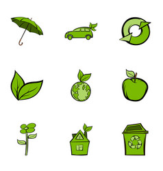 Nature protection icons set cartoon style vector