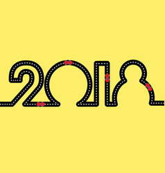 New year concept - road in the shape of 2018 vector