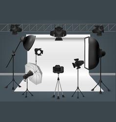 photo studio with camera lighting equipment flash vector image vector image