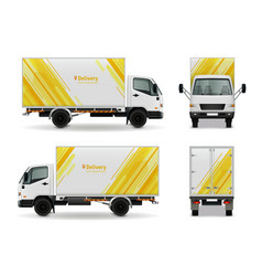 realistic cargo vehicle advertising mockup design vector image