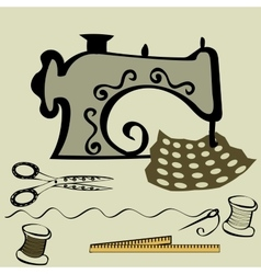 Sewing machine craft working table vector