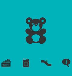 Teddy bear icon flat vector