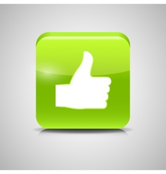 Thumbs Up Glass Button vector image vector image