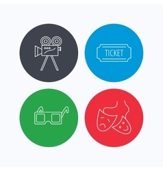 Ticket video camera and theater masks icons vector image
