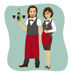 waiter and waitress holding a serving tray vector image